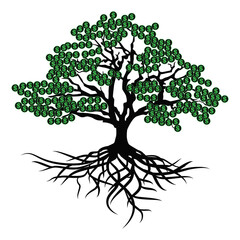 Black money tree with dollars. Vector illustration isolated.