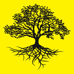 Tree and its roots. Silhouette vector illustration on a yellow background.