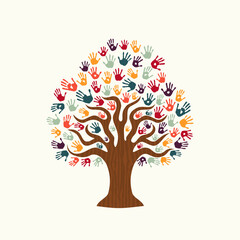 Tree hand illustration of diverse people team help