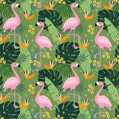 Tropical jungle seamless pattern with flamingo bird, palm leaves and flowers. Flat design, vector illustration background.