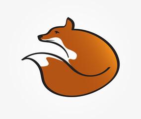 Stylized fox logo icon vector. Hand drawn simple elegant illustration.