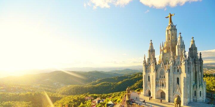 Temple Sacred Heart of Jesus on Tibidabo in Barcelona in Spain.