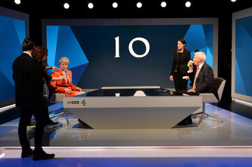 Prime Minister Theresa May prepares to take part in an interview with Jeremy Paxman during a joint Channel 4 and Sky News general election programme recorded at Sky studios in Osterley, west London