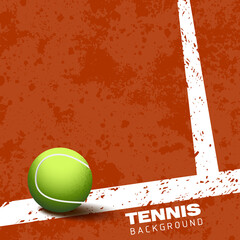 Tennis ball on court vector illustration background