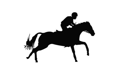Horse race. Equestrian sport. Silhouette of racing horse with jockey. Jumping. First step.