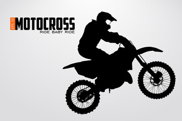 Motocross drivers silhouette. Vector illustration Wall mural