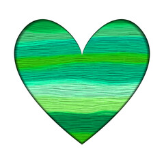 Green Oil Stripes Heart Eco Concept -  Oil Paints Stroke Silhouette Template -  Vector Illustration