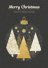 Vector merry Christmas and happy New Year design. Vertical card with Christmas trees in ball on black background.