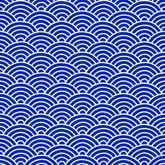 Traditional Japanese Folk Seigaiha Pattern - Vector Seamless Background