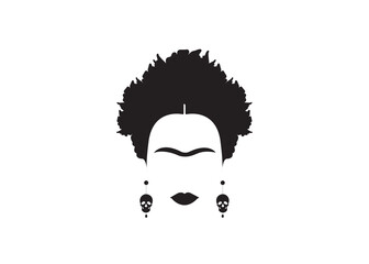 portrait of Mexican or Spanish woman minimalist Frida with earrings skulls, vector isolated