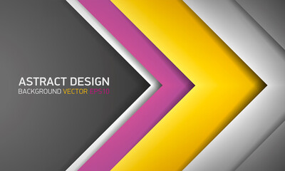 Abstract volume background, yellow and gray stripes, cover for project presentation, vector design