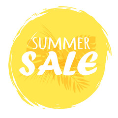 Summer Sale. Special offer banner with handwritten text design and orange circle brush stroke background with palm leaves. Perfect for stickers, promotion and advertising. Vector illustration.