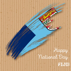 Fiji Independence Day Patriotic Design. Expressive Brush Stroke in National Flag Colors on kraft paper background. Happy Independence Day Fiji Vector Greeting Card.