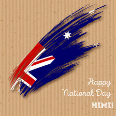 HIMI Independence Day Patriotic Design. Expressive Brush Stroke in National Flag Colors on kraft paper background. Happy Independence Day HIMI Vector Greeting Card.