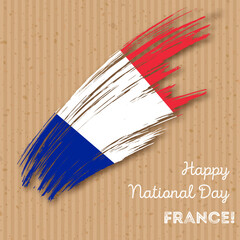 France Independence Day Patriotic Design. Expressive Brush Stroke in National Flag Colors on kraft paper background. Happy Independence Day France Vector Greeting Card.