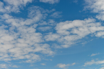 Blue sky with clouds background in beautiful summer day.