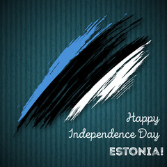 Estonia Independence Day Patriotic Design. Expressive Brush Stroke in National Flag Colors on dark striped background. Happy Independence Day Estonia Vector Greeting Card.