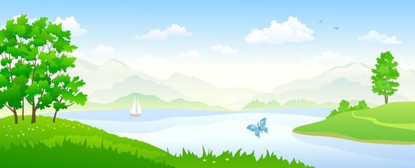 River landscape panorama