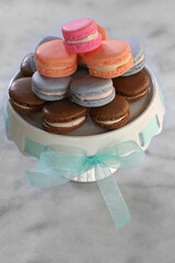 French macaroons on a cake stand
