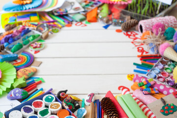 Materials for children's creativity. Drawings, plasticine, crafts.