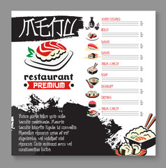 Vector menu for Japanese sushi food restaurant