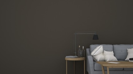 Wall Mural -  Living space 3d rendering Interior bedroom design interior minimal space in apartment comfortable and dark color