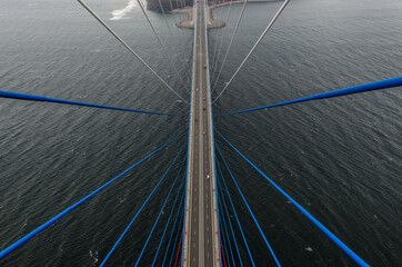 Keuken foto achterwand Brug Vladivostok, view from bridge top to Russky Island