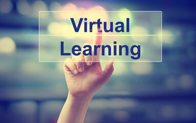 Virtual Learning concept with hand