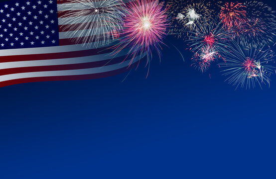 4th July background of US flag and fireworks in twilight blue time