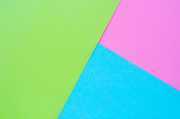 Colorful of pink, green and blue paper background
