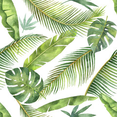 Watercolor seamless pattern with tropical leaves and branches isolated on white background.