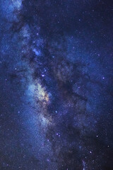 Clearly milky way galaxy at phitsanulok in thailand. Long exposure photograph.with grain