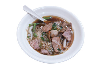 Beef and offal noodle, Thai style with clipping path