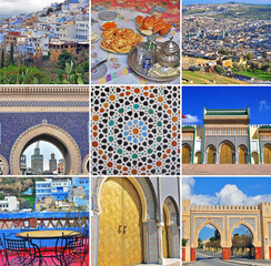 Morocco travel collage. Set of images from Fes and Chefchaouen