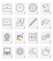 Set of sixteen vector images - icons for a school site with a picture of objects on a sheet of paper with a curved corner