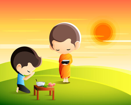 Buddhist monk holding alms bowl in his hands to receive food offering from sitting man in the morning