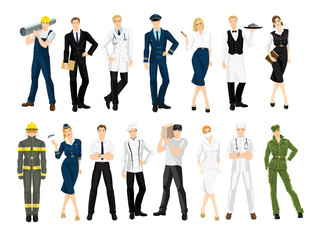 Group of people of different professions in uniform isolated on white background.