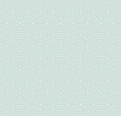 Geometric repeating light blue and white ornament with hexagonal dotted elements. Geometric modern ornament. Seamless abstract modern pattern