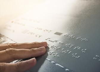 Braille Alphabet Reading Blind communication on Public signage