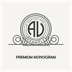 Modern emblem, badge, monogram template. Luxury elegant frame ornament line logo design vector illustration. Good for Royal sign, Restaurant, Boutique, Cafe, Hotel, Heraldic, Jewelry, Fashion.