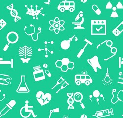 Medicine, green background, flat, seamless, vector.  Medical services specialization. The profession of doctors. Medical instruments. White, flat pictures on a green field. Vector background.