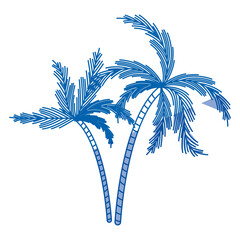 blue shading silhouette of two palm trees vector illustration