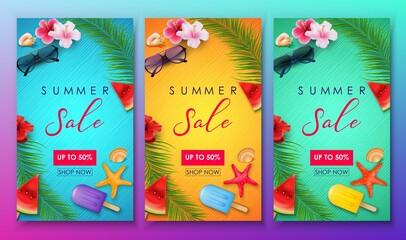 Set of summer sale banner template