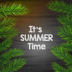 It's summer time background with palm leaves
