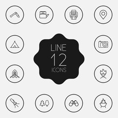 Set Of 12 Camping Outline Icons Set.Collection Of Pocket Torch, Place Pointer, Shelter And Other Elements.