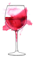 Vector and watercolor drawing of glass of red wine