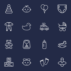 Set Of 16 Baby Outline Icons Set.Collection Of Balloons, Smock, Baby And Other Elements.