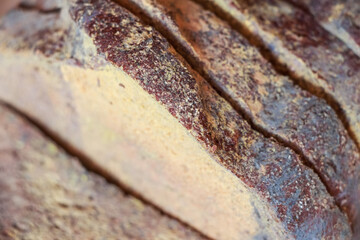 Slices of old moldy rye bread on wooden shelf