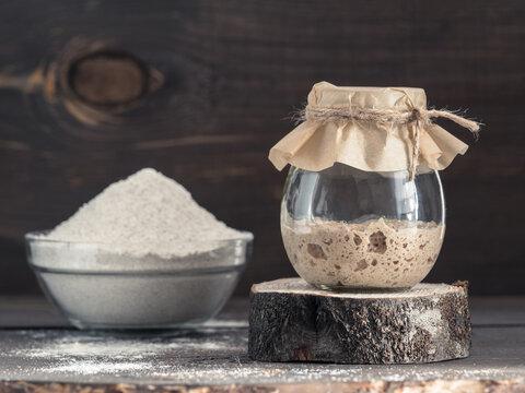 rye sourdough starter and rye flour
