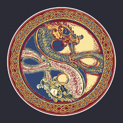 Two Dragons in the Celtic style, color tattoo. Black Dragon in Yin yang t-shirt design. Meditation, philosophy, harmony symbol